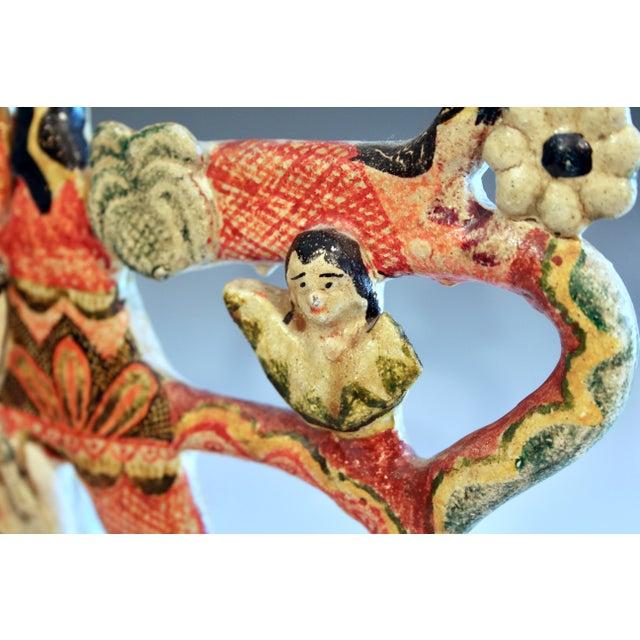 Ceramic Vintage Mexican Tree of Life Pottery Aurelio Flores Candelabra Sculpture For Sale - Image 7 of 13