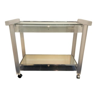 1960s Vintage Lucite and Mirror Bar Cart For Sale