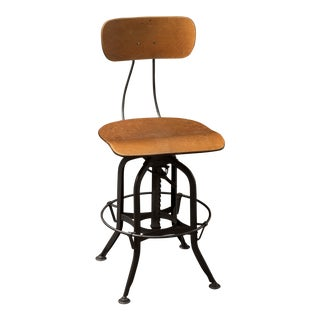 1950s Industrial Toledo Uhl Steel Adjustable Bar Stool