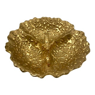 Hollywood Regency Weeping Gold Divided Candy Dish