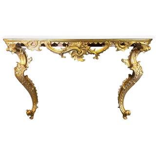 Italian Rococo Giltwood Console, 18th Century For Sale