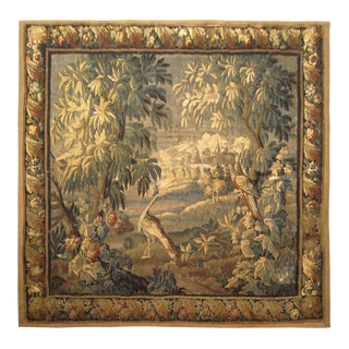 18th Century French Felletin Verdure Landscape Tapestry With Birds and Trees For Sale