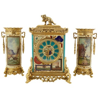 "French ""Japonisme"" Gilt-Bronze Mounted Three-Piece Porcelain Clock Garniture For Sale"