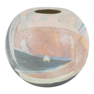 1980s Vintage Abstract Pastel Spherical Ceramic Vase For Sale