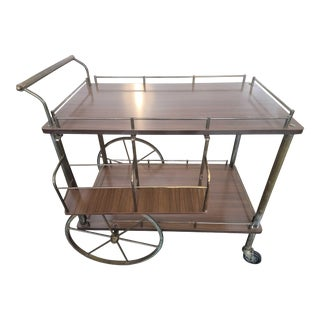 Vintage Mid-Century Gilded Brass and Formica-Top Bar Cart For Sale
