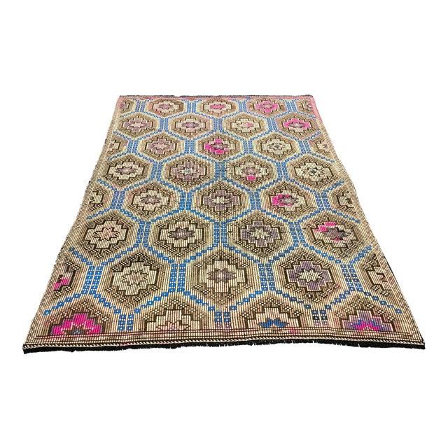 1960s Vintage Primitive Nomadic Aztec Turkish Traditional Wool Handmade Kilim Rug- 6′ × 8′8″ For Sale
