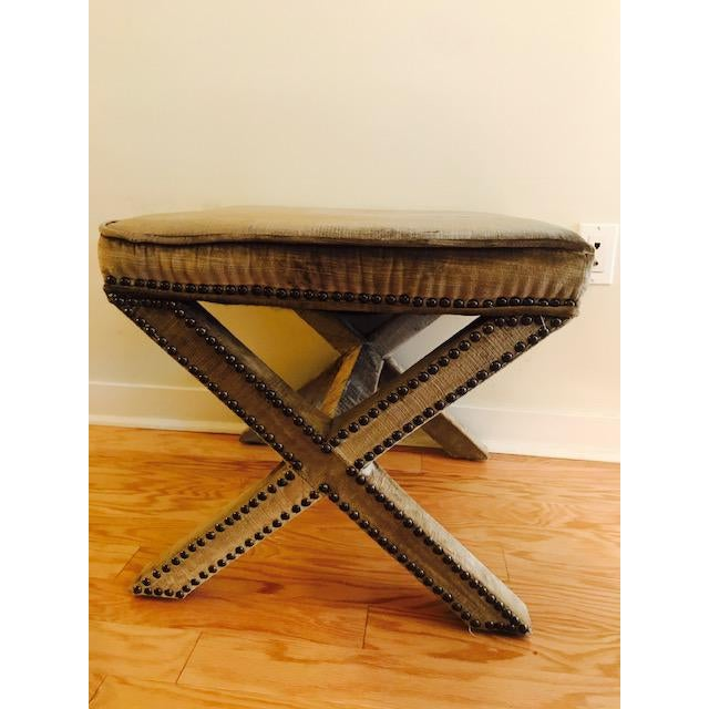 Textile Safavieh Velvet Palmer X Bench, Pair (2 Benches/Stools) For Sale - Image 7 of 7