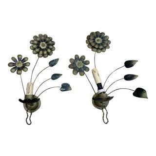 1940s French Art Deco Metal Dore Flower/Petal Maison Bagues Style Wall Sconces - a Pair For Sale