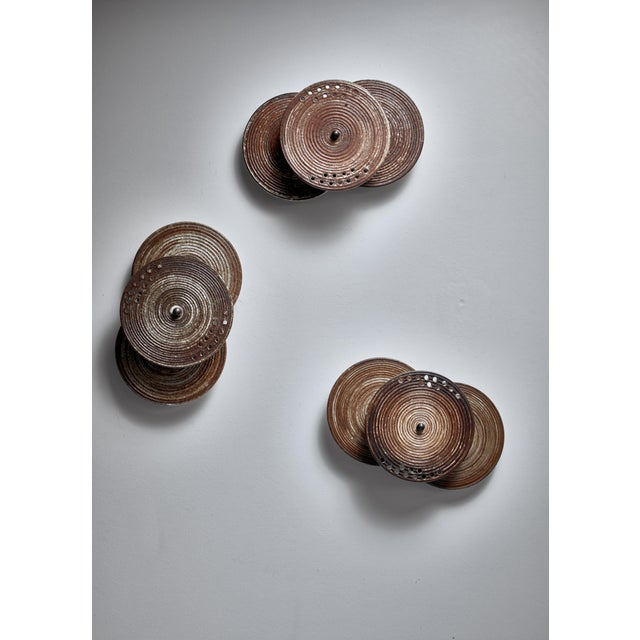 1960s Set of Three Axella Stentøj Three Disc Ceramic Wall Lamps, Denmark, 1960s For Sale - Image 5 of 6