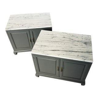 Pair of Modern Lacquered Cabinets With Brass Pulls and Marble Tops For Sale