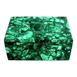 Lidded Full Slab Malachite Box For Sale