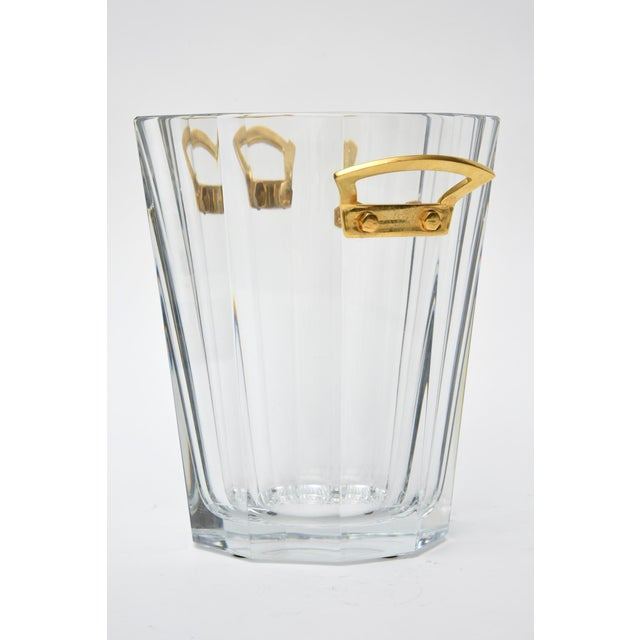 1970s Baccarat Signed Crystal and Brass Ice Bucket/Champagne Cooler For Sale - Image 5 of 9