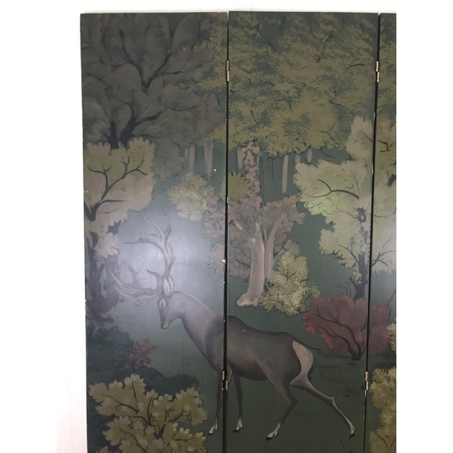 Painted Four Panel Screen With Landscape and Deer For Sale - Image 10 of 13