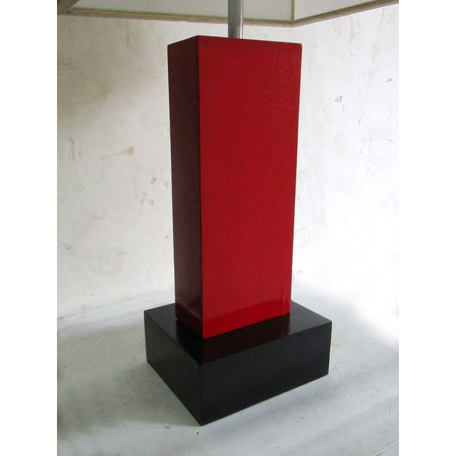 Black And Red Lacquer Large Geometric Lamp - Image 4 of 4