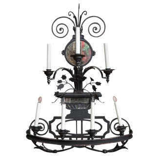 Decorative 7-Light Large Black Wrought Iron Sconce For Sale