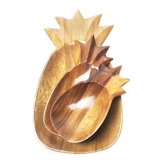 Mid Century Monkey Pod Wood Pineapple Shaped Bowls/Plates/Trays - Set of 3