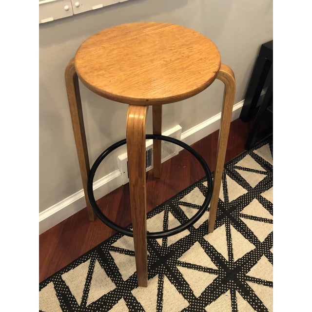 """alvar aalto style bent wood mid century stool with metal foot ring. Marked """"Made in Danmark"""""""