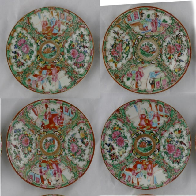 Antique Chinese Qing Rose Medallion Porcelain 6 Inch Plates Set of 4 For Sale - Image 13 of 13