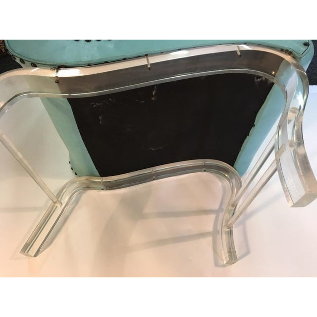 Teal Pair of Grosfeld House Graceful Lucite Lounge Chairs Designed by Lorin Jackson For Sale - Image 8 of 9