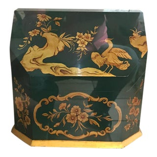1980s Chinoiserie Green and Gold Leaf Stationery Caddy For Sale