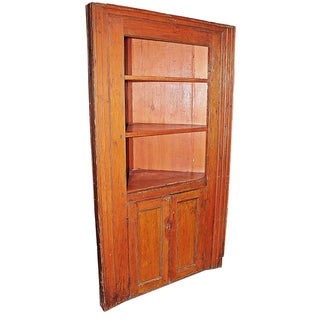 Antique Rustic Country Corner Cupboard For Sale