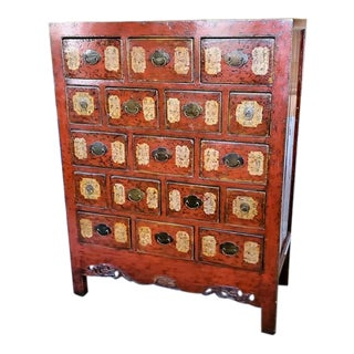 Late 20th Century Asian Modern Red Lacquered Apothecary Cabinet For Sale