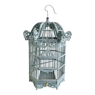 Vintage Pagoda Style Wooden Carved Birdcage