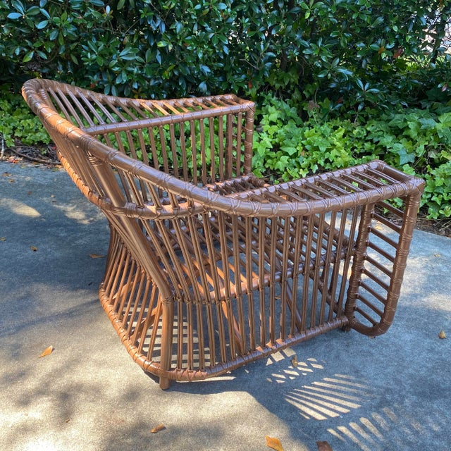Henry Olko Style Rattan Club Chair For Sale In Atlanta - Image 6 of 10