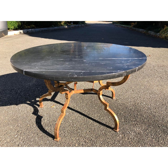 Hollywood Regency 1960s Vintage French Hollywood Regency Gilt Wrought Iron Marble Top Coffee Table For Sale - Image 3 of 12