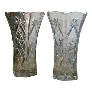 2017 Closeout Hexagon Heavy Pressed Glass Vases - a Pair