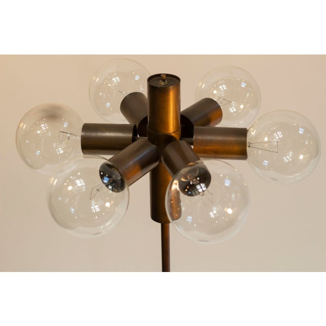 Satelite style floor lamp with 6 radiating bulbs in a stunning patinated bronze finish, custom made by Casella, c. 1970s...