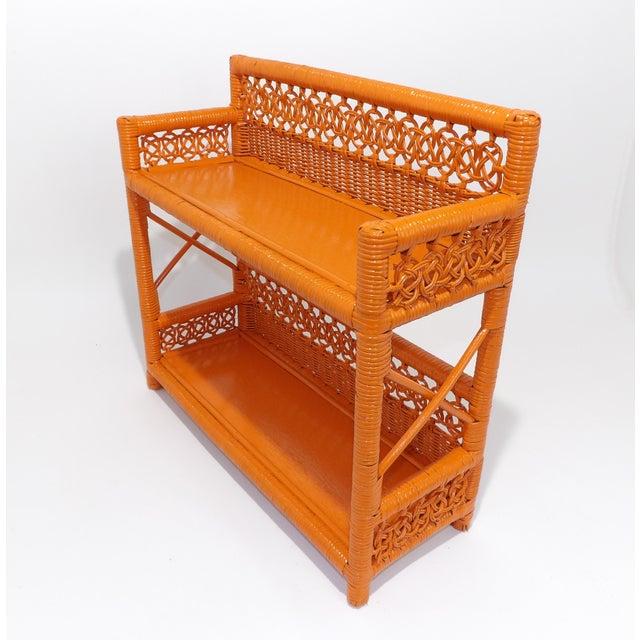 Mid-Century Modern Mid Century Modern Orange Wicker Bathroom Shelf For Sale - Image 3 of 8