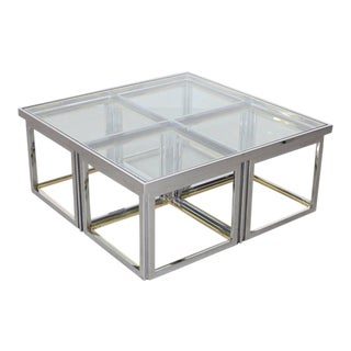 Huge Coffee Table in Brass and Chrome with Four Nesting Tables by Maison Charles For Sale