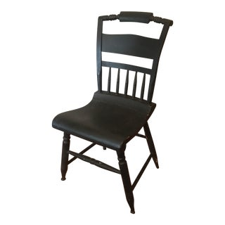 Vintage Wooden Hitchcock Style Black Chair For Sale