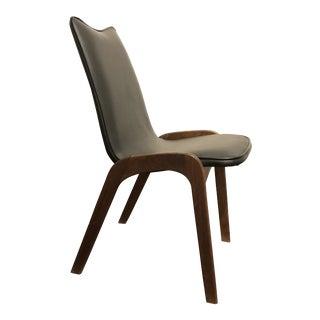 Mid Century Modern Walnut and Vinyl Desk Chair For Sale