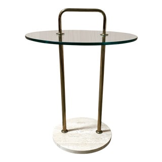 Mid-Century Glass & Travertine Side Table