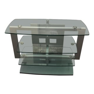 Bdi Glass + Metal Media Stand For Sale