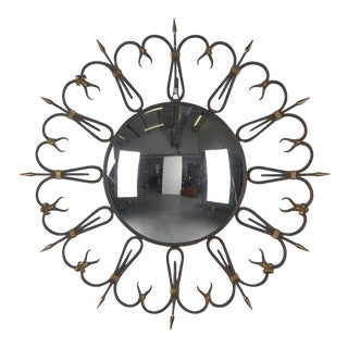 Mid-Century French Round Iron Framed Convex Mirror For Sale