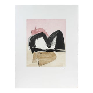 1990s Abstract Expressionist Monotype in Light Pink and Black For Sale
