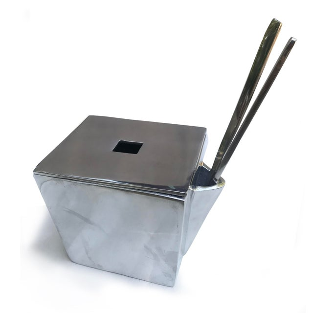 Chinese Lunares San Francisco Cast Aluminum Chinese Take-Out Lidded Box With Chopsticks For Sale - Image 3 of 6