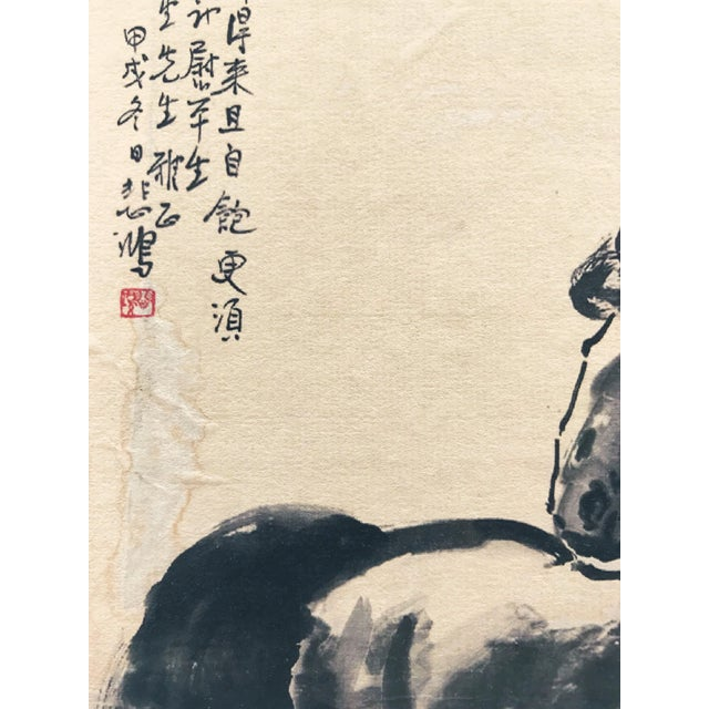 Vintage Chinese Watercolor of Horse Manner of Xu Beihong For Sale - Image 4 of 5