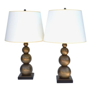 e.f. Chapman Antiqued Brass Stacked Balls Table Lamp Pair for Visual Comfort For Sale