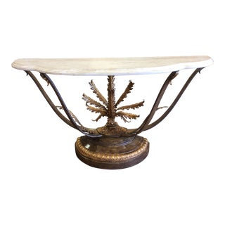 Hollywood Regency Hall Table With Acanthus Leaf Base For Sale