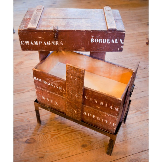 French Champagne/ Wine Crate Table with Hand Forged Iron Base, circa 1905 For Sale - Image 3 of 4