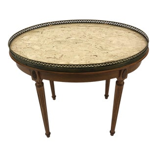 1940s Vintage Fruitwood Oval Coffee Table For Sale