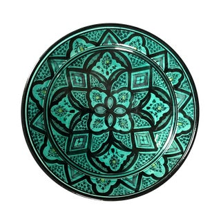 Moroccan Painted Pottery Centerpiece Bowl For Sale