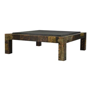 Paul Evans for Directional Brutalist Patchwork Metal Coffee Table