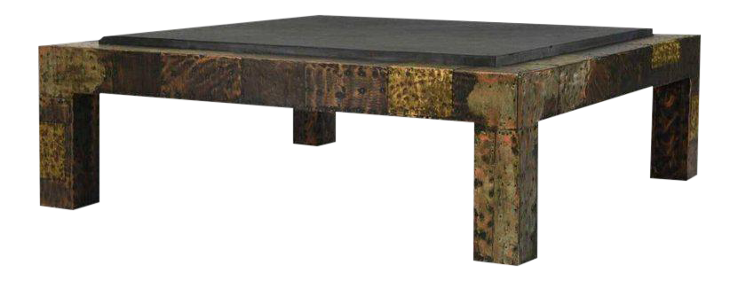 Superbe Paul Evans For Directional Brutalist Patchwork Metal Coffee Table For Sale