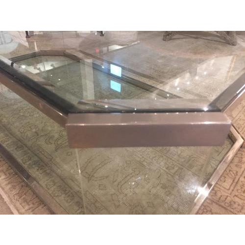 1970s Vintage Glass and Brass Cocktail Table, C.1970 For Sale - Image 5 of 9