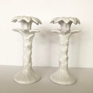 Vintage White Glazed Terra Cotta Palm Tree Candlesticks Preview